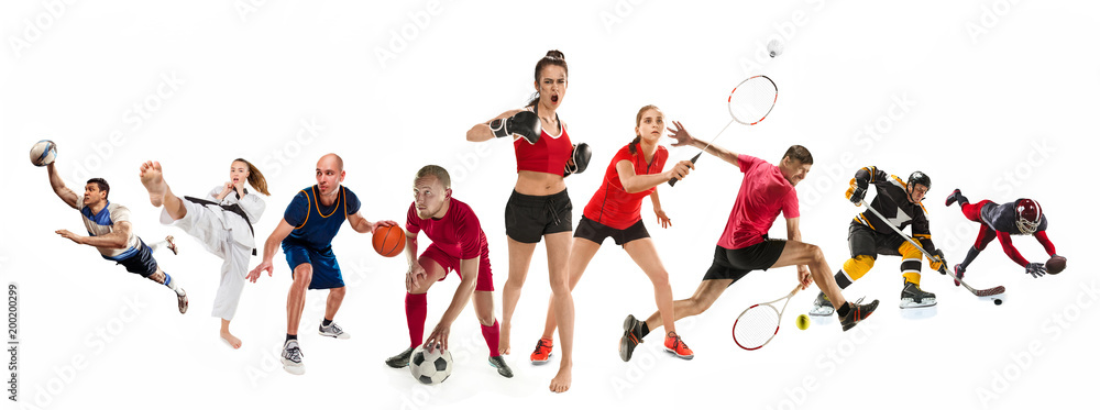 Fototapety, obrazy: Sport collage about kickboxing, soccer, american football, basketball, ice hockey, badminton, taekwondo, tennis, rugby