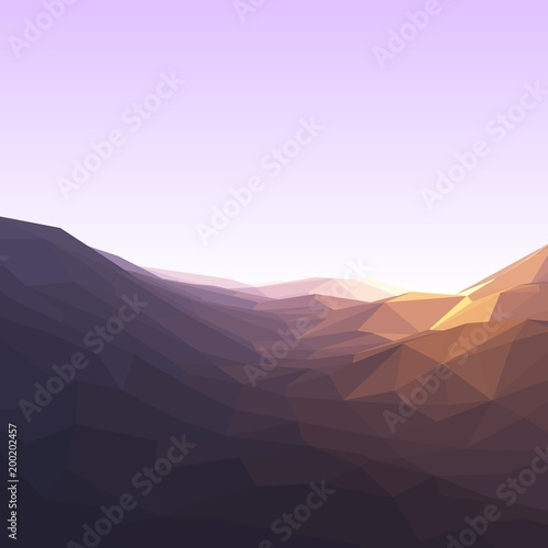 Tuinposter Purper Beautiful morning landscape. Low polygonal. Vector illustration.