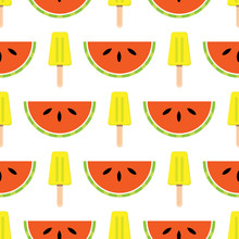 Vector Seamless Summer Theme Background With Fruits And Ice Cream. Stylish Bright Background.