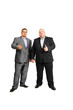 fat businessman in suits on white isolated