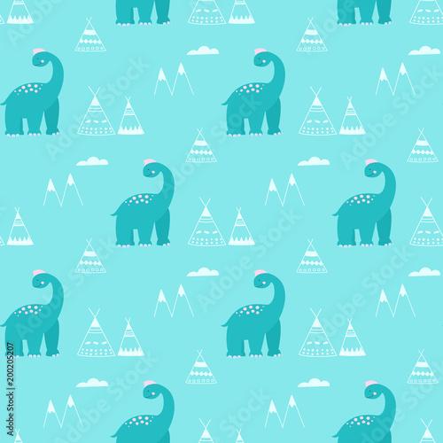 Cotton fabric Dinosaurs in cartoon style seamless vector pattern.