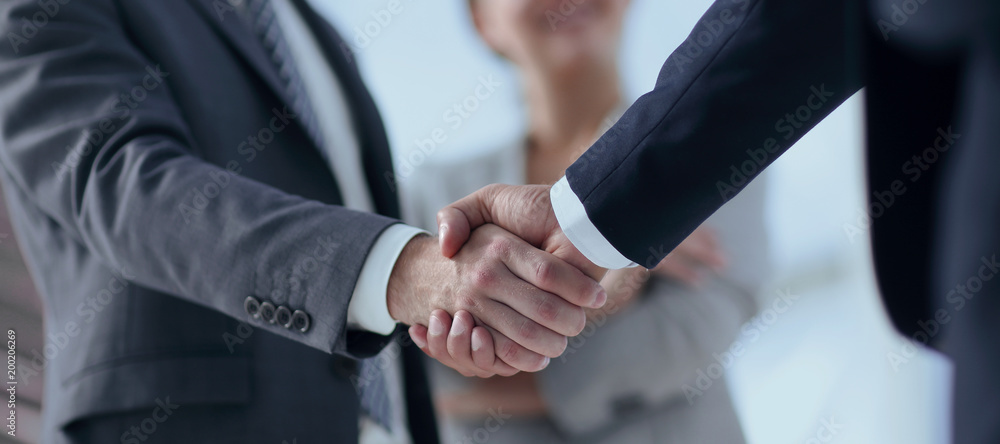 Fototapeta closeup of handshake of business partners