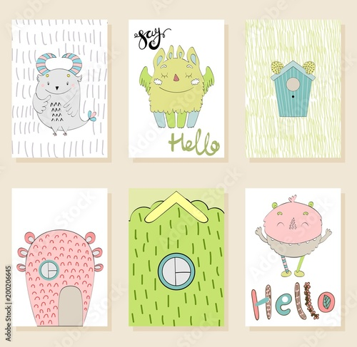 Fotografie, Obraz  Set of cute cartoon monsters greeting or invitation cards.