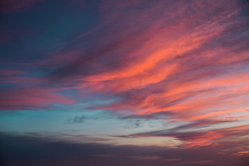 Gorgeous blue and pink sunset sky over high mountain silhouettes, Malibu, California