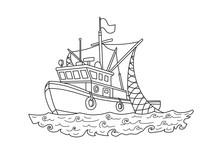 Fishing Boat In The Sea. Conto...