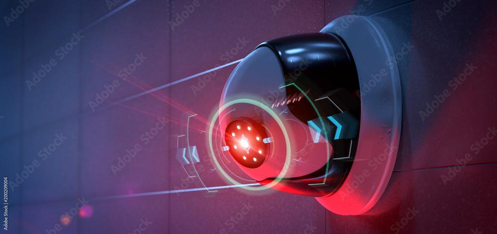 Fototapeta Security camera targeting a detected intrusion - 3d renderinga