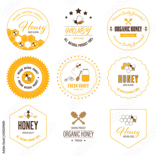 Fotografija Honey bee label and sticker banner