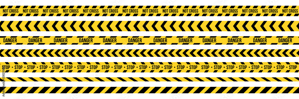 Fototapeta Creative vector illustration of black and yellow police stripe border. Set of danger caution seamless tapes. Art design line of crime places. Abstract concept graphic element. Construction sign.