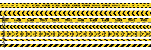 Carta da parati Creative vector illustration of black and yellow police stripe border