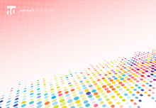 Abstract Colorful Halftone Texture Dots Pattern Perspective On Pink Polka Dot  Background.