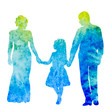 watercolor silhouette family