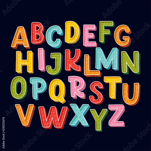 Canvastavla Cute hand drawn alphabet made in vector