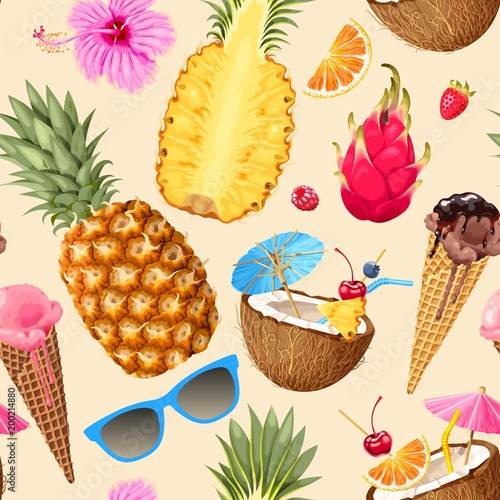 Cotton fabric Tropic summer pattern