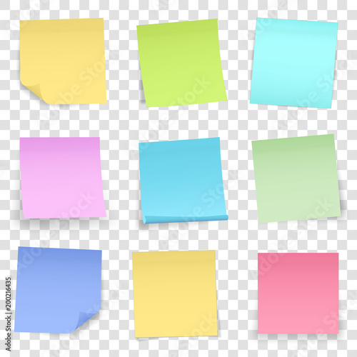 Fotomural  Creative vector illustration of post note papers sticker pin isolated on transparent background