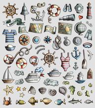 Vector Set Of Marine, Nautical...