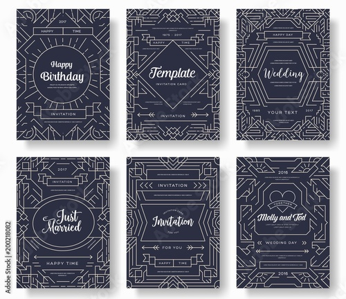 Fototapety, obrazy: Thin line art set. Outline template of flyear, magazines, posters, book cover, banners. Hipster Decorative retro greeting card or invitation design. Layout illustrations modern pages with typography