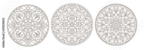 Obraz na plátně Set contour illustrations of stained glass, round stained glass floral ornaments