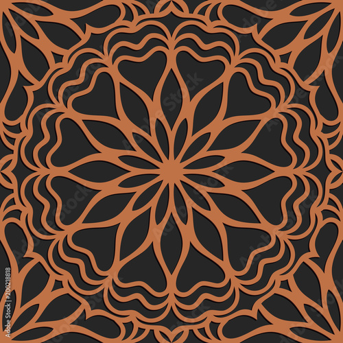 Poster Kunstmatig Laser cutting seamless pattern. Tapestry panel. Jigsaw die cut ornament. Lacy cutout silhouette stencil. Fretwork floral screen. Vector template for paper cutting, metal and woodcut.