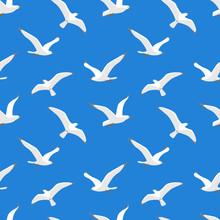 Seamless Pattern With Sea Gulls