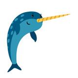 Fototapeta Fototapety na ścianę do pokoju dziecięcego - Blue narwhal sea animal icon