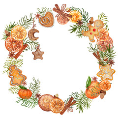 Watercolor Christmas wreath with gingerbread cookies. Hand drawn vintage illustration.