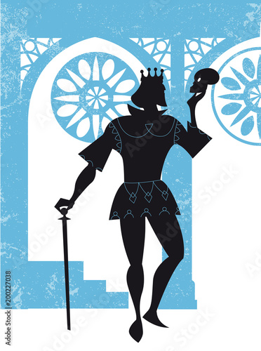 Hamlet with a skull in his hand, vector illustration Wallpaper Mural