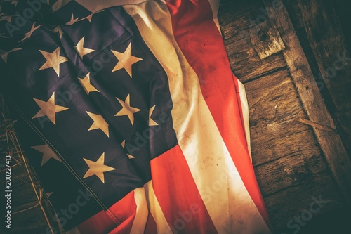 American Flag Vintage Theme Poster Mural XXL
