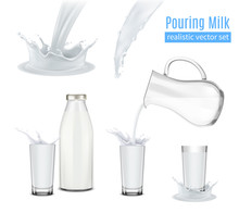 Pouring Milk Realistic Composition