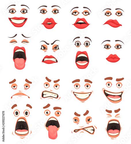 Cuadros en Lienzo Cartoon Cute Mouth Set