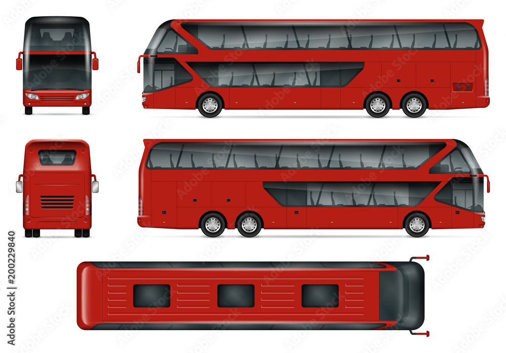 Bus Vector Mock Up Isolated Template Of Red Travel Coach On White