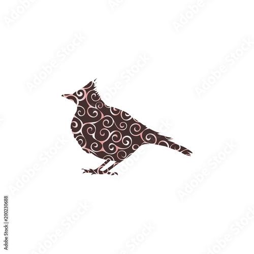 Fényképezés Skylark lark bird spiral pattern color silhouette animal