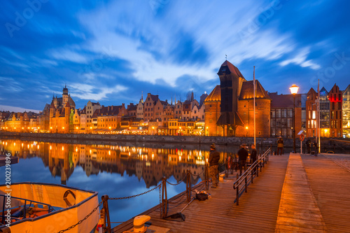 Promenade at Motlawa river and marina in Gdansk at night, Poland