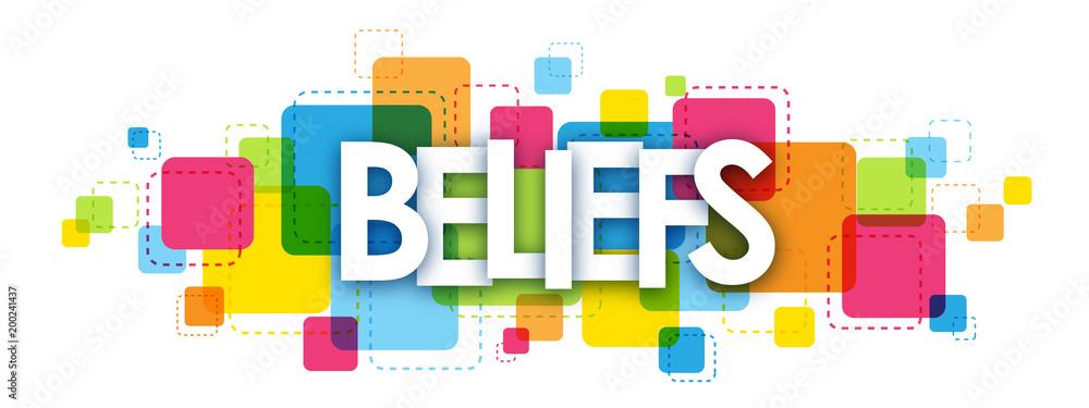 Fototapeta BELIEFS colourful vector letters icon