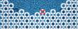 unique red float ring between blue float rings in pool. 3d rendering