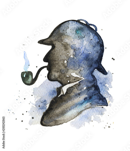 Photo Vintage silhouette of Sherlock Holmes with smoking pipe and hat on watercolor splotches