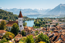 Thun Cityscape With Alps Mount...