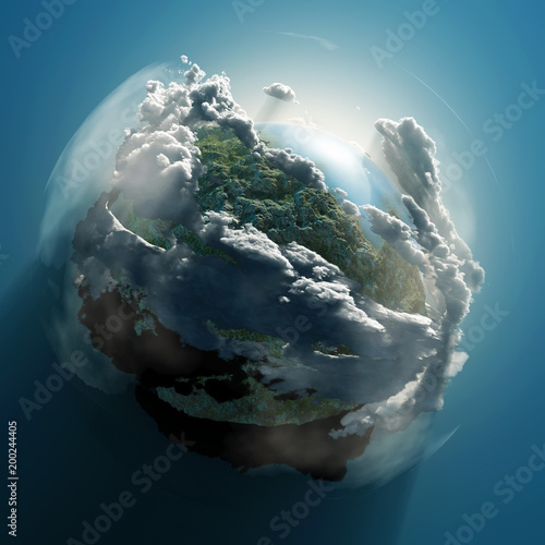 Fototapeta small planet in clouds