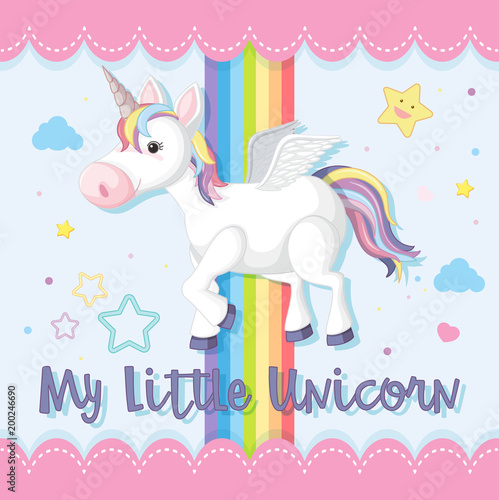 Deurstickers Pony Poster design with unicorn and rainbow in sky