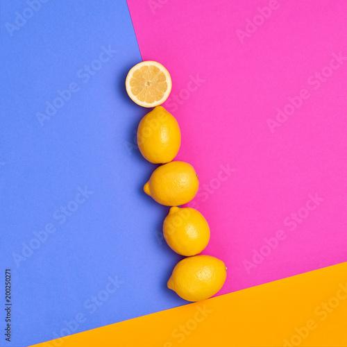 Lemon Fresh Citrus fruit. Fashion Summer Set. Food Organic Vegan Concept. Hot Sunny Vibes. Creative Bright Pink Yellow Color. Surreal, Minimal Style. Pop Art Design Wall mural