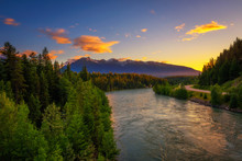 Sunset Above Fraser River Near Jasper National Park In Canada