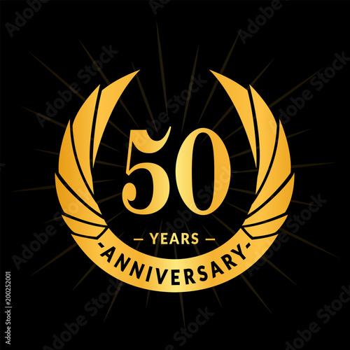 Photo 50 years anniversary. Elegant anniversary design. 50 years logo.