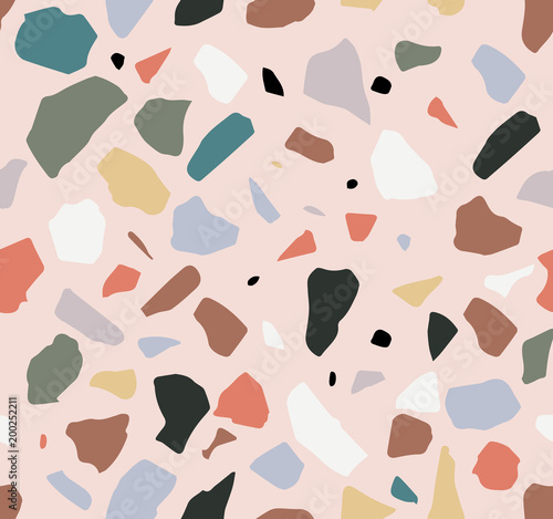 Terrazzo seamless pattern. Pastel colors. Marble.