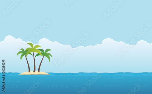 Wall Murals Green coral beach with palm tree on island and blue sky background in flat icon design