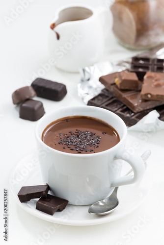 Foto op Canvas Chocolade hot chocolate on a white background, vertical, top view