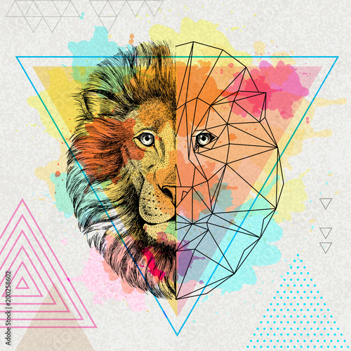 Платно Hipster animal realistic and polygonal lion on artistic watercolor background