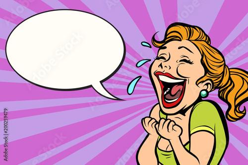 Fotografía  woman laughs with tears