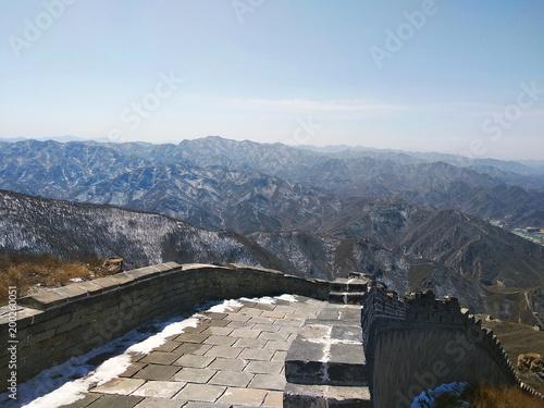 In de dag China Great Wall of China. Badaling Ancient Great Wall close to Beijing.