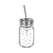 Beautiful Vector Hand Drawn Smoothie Illustration.