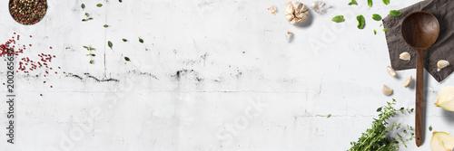 Küche und Kochen - klassische Zutaten - Banner / Hintergrund Fototapete