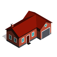 Isometric House With Garage, With Shadow On White Background.